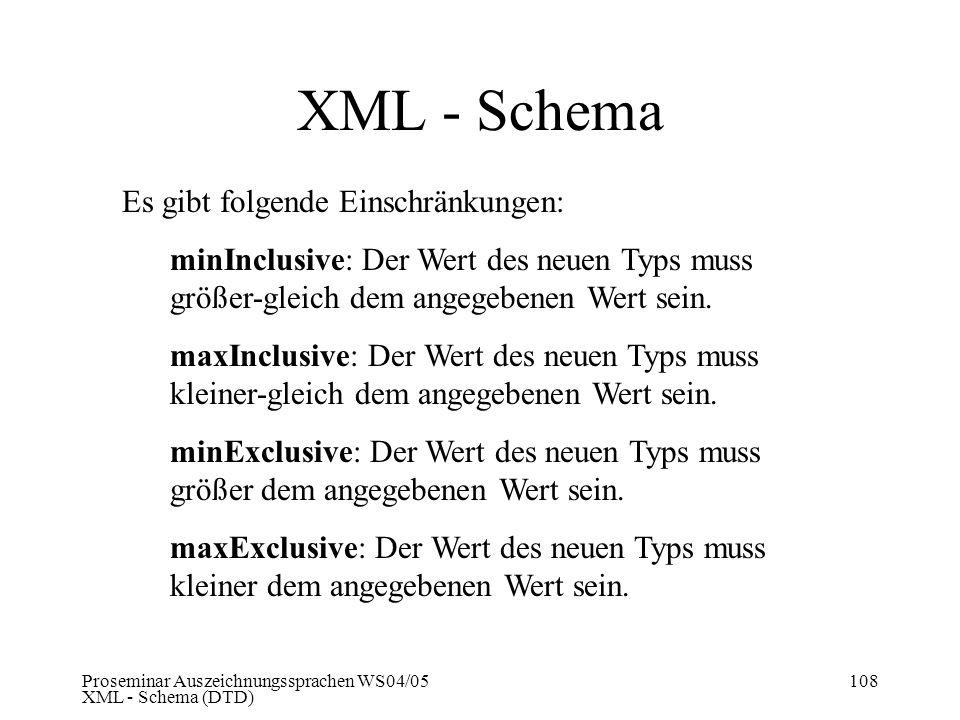 Proseminar Auszeichnungssprachen WS04/05 XML - Schema (DTD) 108 XML - Schema Es gibt folgende Einschränkungen: minInclusive:Der Wert des neuen Typs mu