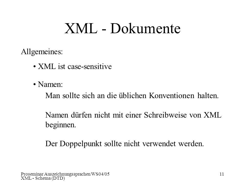 Proseminar Auszeichnungssprachen WS04/05 XML - Schema (DTD) 11 XML - Dokumente Allgemeines: XML ist case-sensitive Namen: Man sollte sich an die üblic
