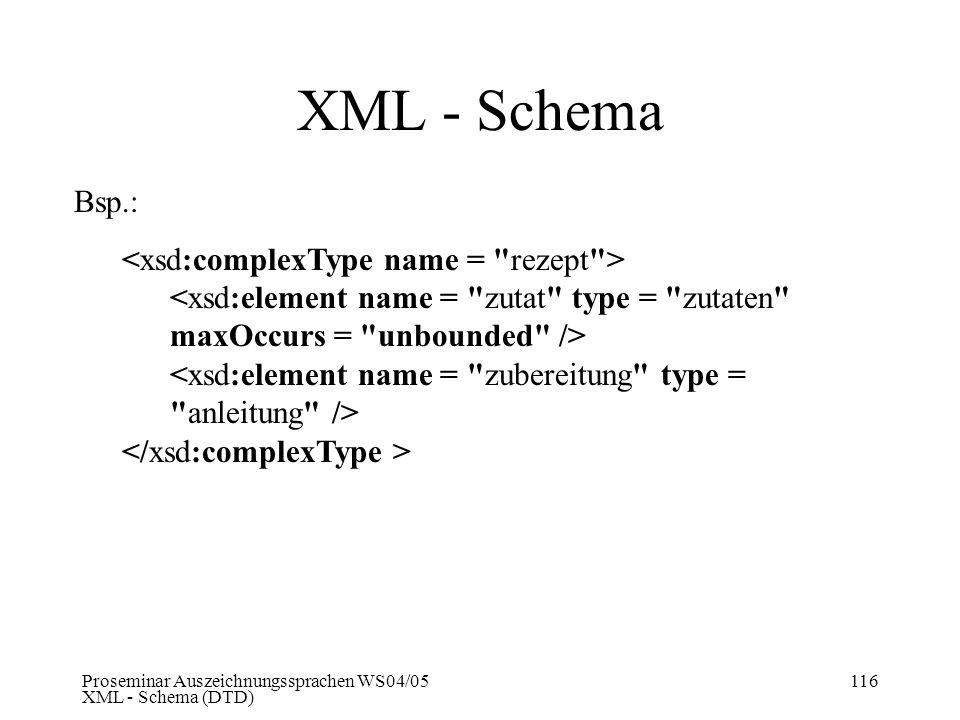 Proseminar Auszeichnungssprachen WS04/05 XML - Schema (DTD) 116 XML - Schema Bsp.: