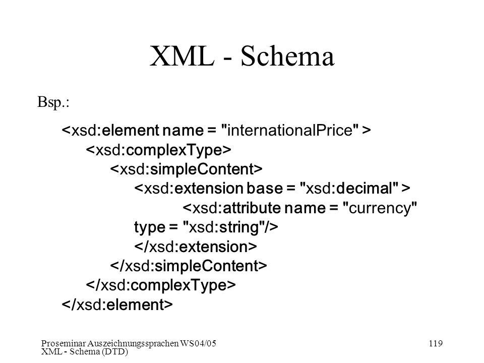 Proseminar Auszeichnungssprachen WS04/05 XML - Schema (DTD) 119 XML - Schema Bsp.: