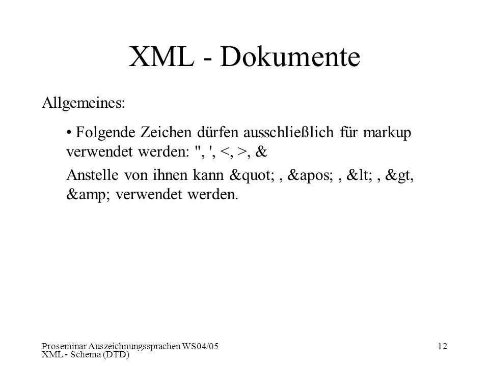 Proseminar Auszeichnungssprachen WS04/05 XML - Schema (DTD) 12 XML - Dokumente Allgemeines: Folgende Zeichen dürfen ausschließlich für markup verwende