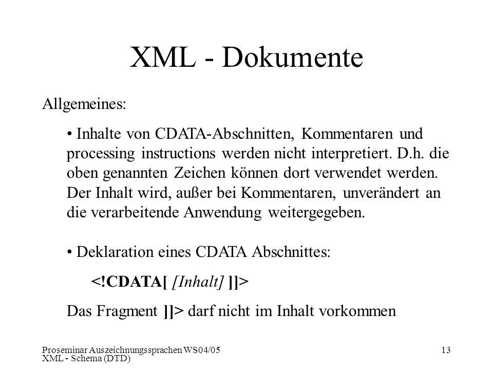 Proseminar Auszeichnungssprachen WS04/05 XML - Schema (DTD) 13 XML - Dokumente Allgemeines: Inhalte von CDATA-Abschnitten, Kommentaren und processing
