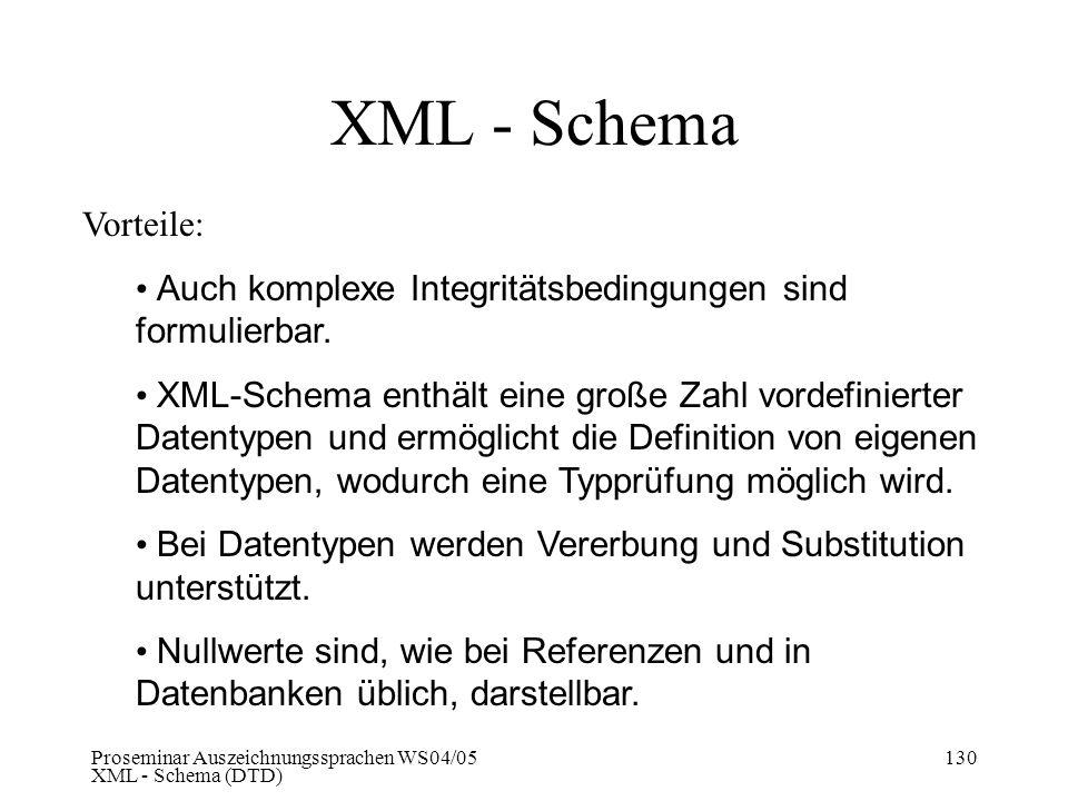 Proseminar Auszeichnungssprachen WS04/05 XML - Schema (DTD) 130 XML - Schema Vorteile: Auch komplexe Integritätsbedingungen sind formulierbar. XML-Sch