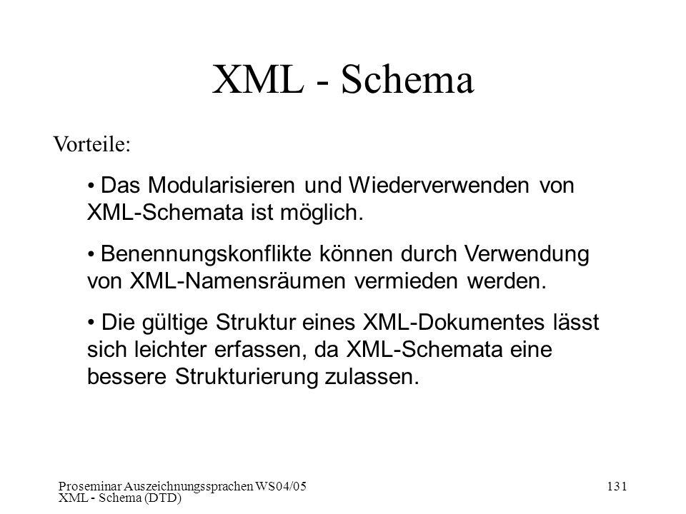 Proseminar Auszeichnungssprachen WS04/05 XML - Schema (DTD) 131 XML - Schema Vorteile: Das Modularisieren und Wiederverwenden von XML-Schemata ist mög