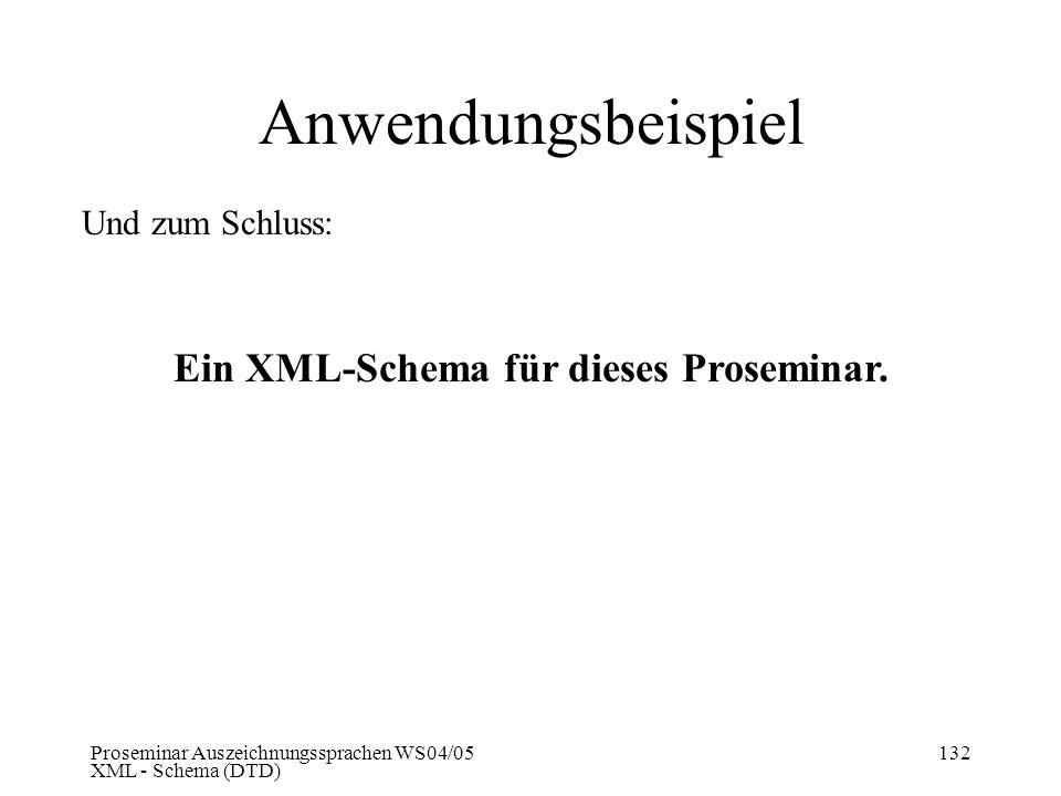 Proseminar Auszeichnungssprachen WS04/05 XML - Schema (DTD) 132 Anwendungsbeispiel Und zum Schluss: Ein XML-Schema für dieses Proseminar.