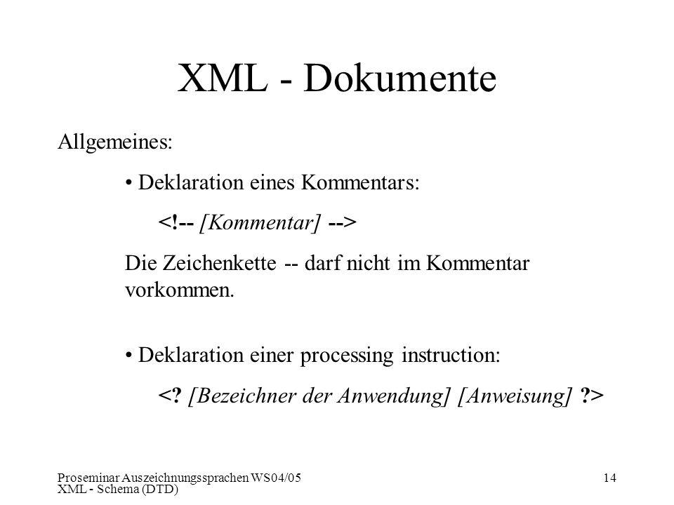 Proseminar Auszeichnungssprachen WS04/05 XML - Schema (DTD) 14 XML - Dokumente Allgemeines: Deklaration eines Kommentars: Die Zeichenkette -- darf nic