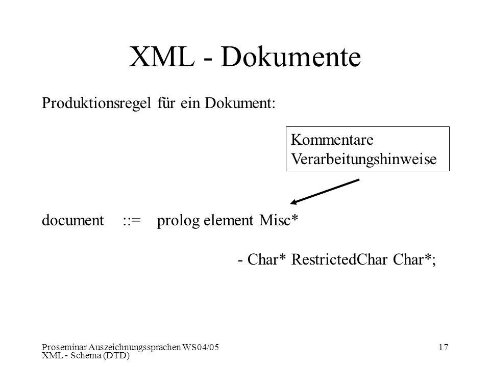 Proseminar Auszeichnungssprachen WS04/05 XML - Schema (DTD) 17 Produktionsregel für ein Dokument: document ::= prolog element Misc* - Char* Restricted