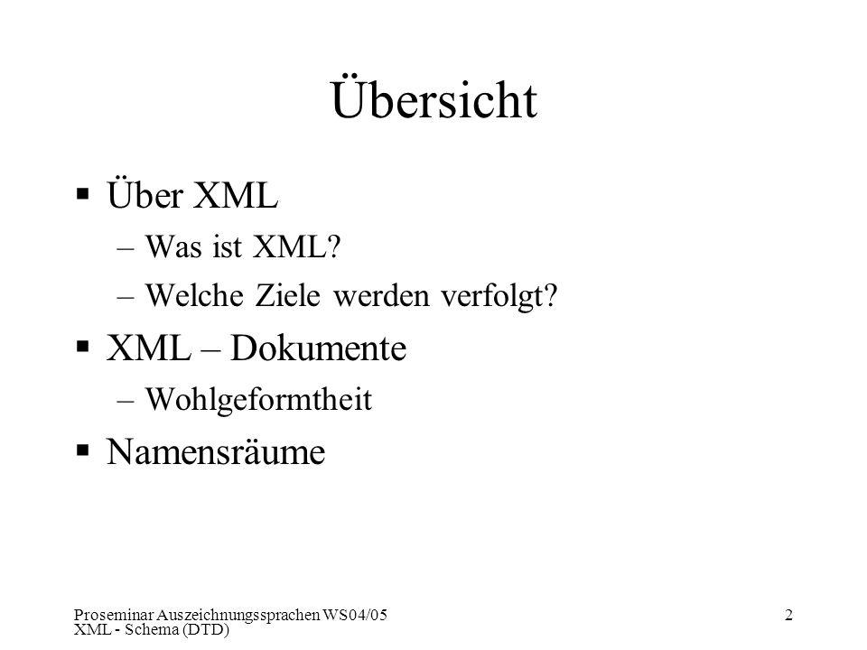 Proseminar Auszeichnungssprachen WS04/05 XML - Schema (DTD) 2 Übersicht Über XML –Was ist XML? –Welche Ziele werden verfolgt? XML – Dokumente –Wohlgef