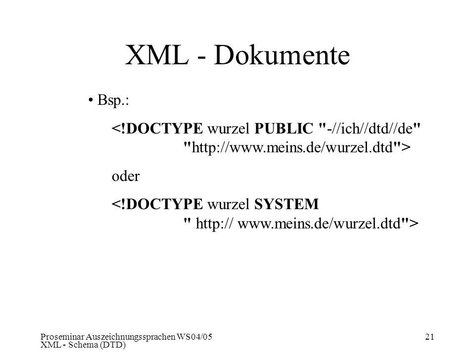 Proseminar Auszeichnungssprachen WS04/05 XML - Schema (DTD) 21 XML - Dokumente Bsp.: <!DOCTYPE wurzel PUBLIC