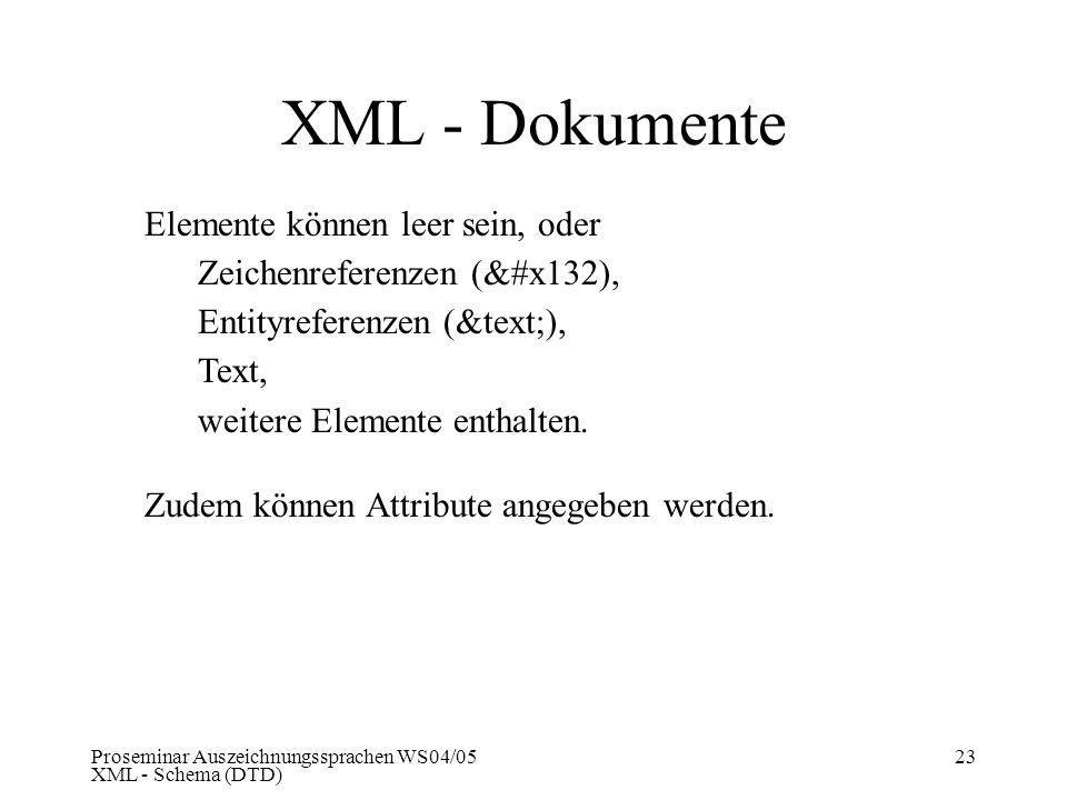 Proseminar Auszeichnungssprachen WS04/05 XML - Schema (DTD) 23 XML - Dokumente Elemente können leer sein, oder Zeichenreferenzen (&#x132), Entityrefer