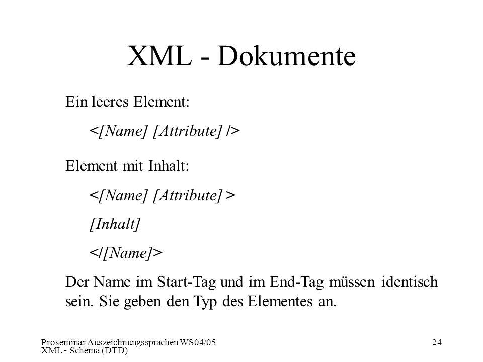 Proseminar Auszeichnungssprachen WS04/05 XML - Schema (DTD) 24 XML - Dokumente Ein leeres Element: Element mit Inhalt: [Inhalt] Der Name im Start-Tag