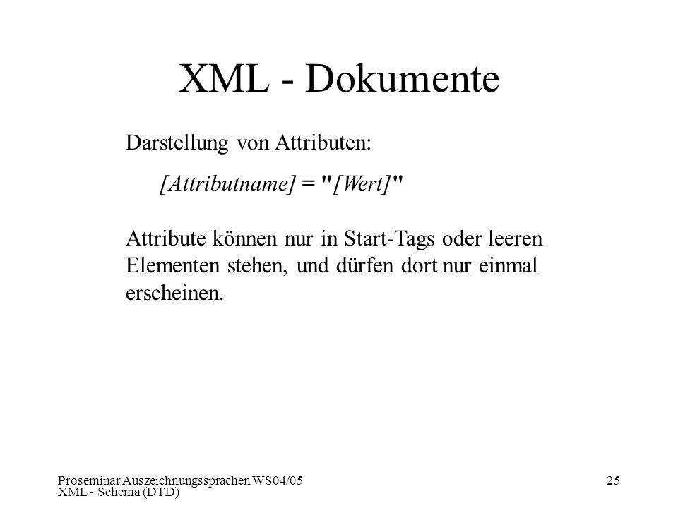 Proseminar Auszeichnungssprachen WS04/05 XML - Schema (DTD) 25 XML - Dokumente Darstellung von Attributen: [Attributname] =