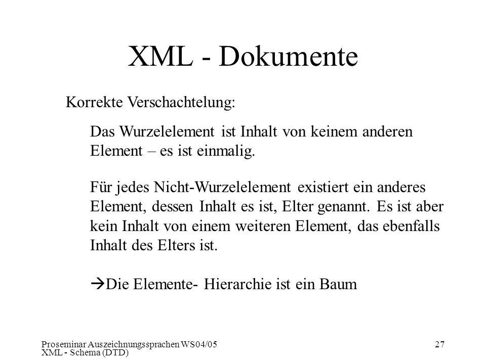 Proseminar Auszeichnungssprachen WS04/05 XML - Schema (DTD) 27 XML - Dokumente Korrekte Verschachtelung: Das Wurzelelement ist Inhalt von keinem ander