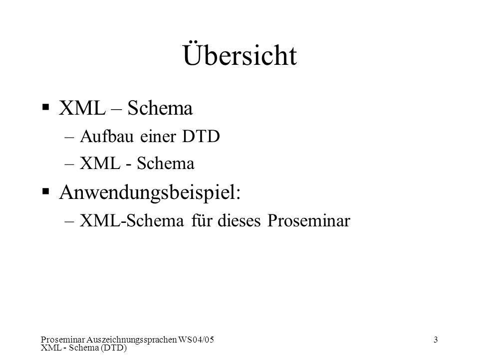 Proseminar Auszeichnungssprachen WS04/05 XML - Schema (DTD) 3 Übersicht XML – Schema –Aufbau einer DTD –XML - Schema Anwendungsbeispiel: –XML-Schema f