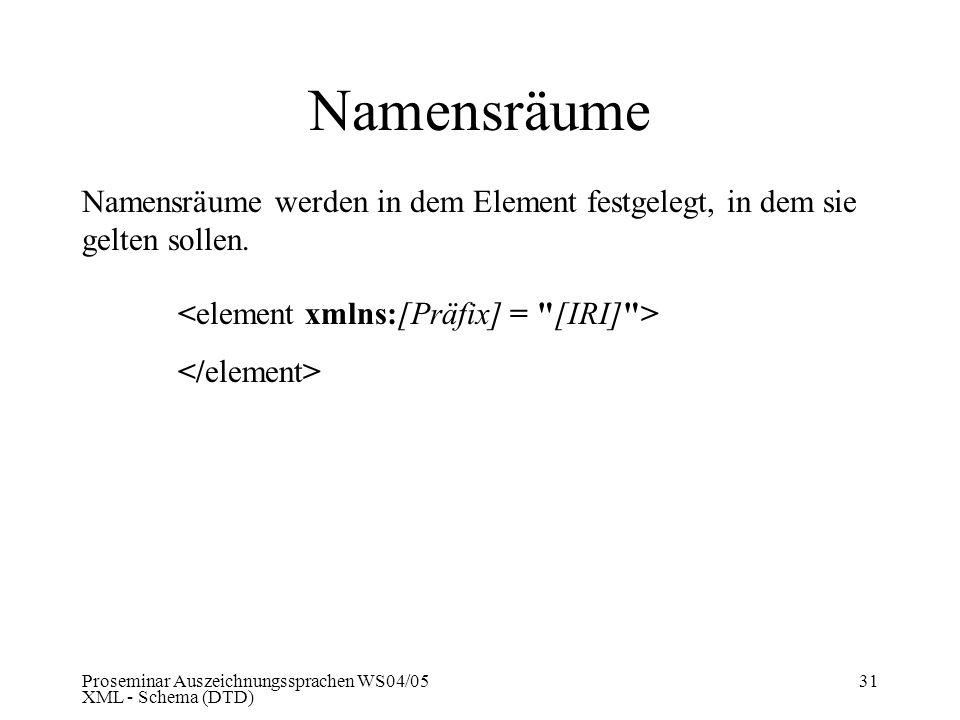 Proseminar Auszeichnungssprachen WS04/05 XML - Schema (DTD) 31 Namensräume Namensräume werden in dem Element festgelegt, in dem sie gelten sollen.