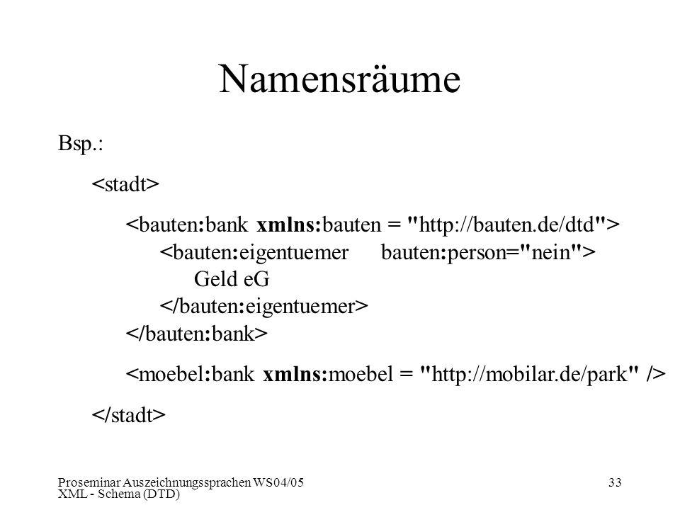 Proseminar Auszeichnungssprachen WS04/05 XML - Schema (DTD) 33 Namensräume Bsp.: Geld eG