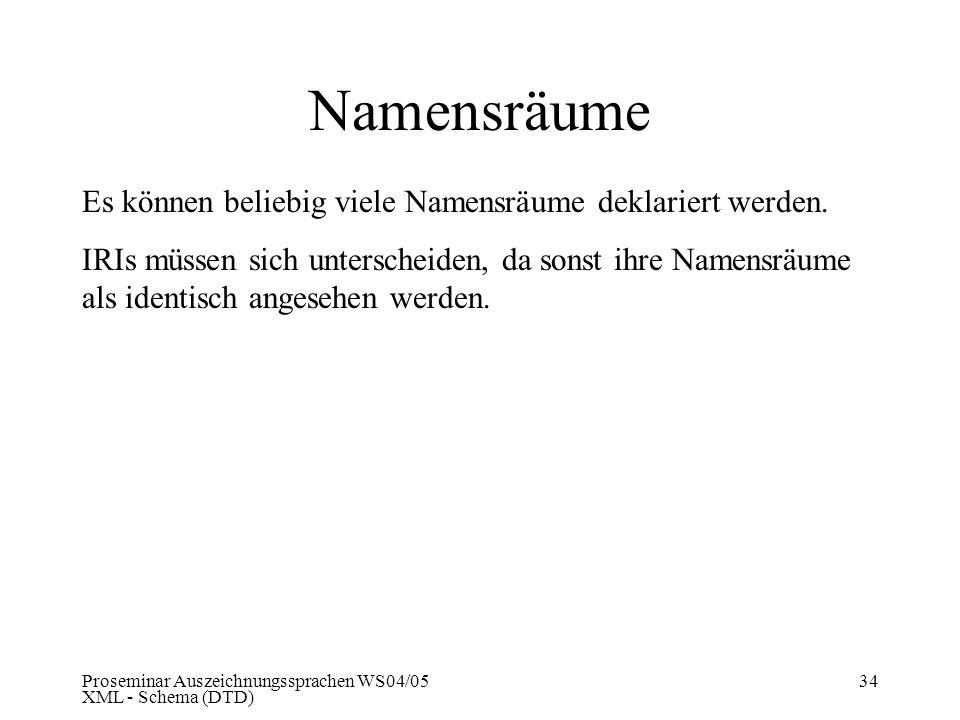 Proseminar Auszeichnungssprachen WS04/05 XML - Schema (DTD) 34 Namensräume Es können beliebig viele Namensräume deklariert werden. IRIs müssen sich un