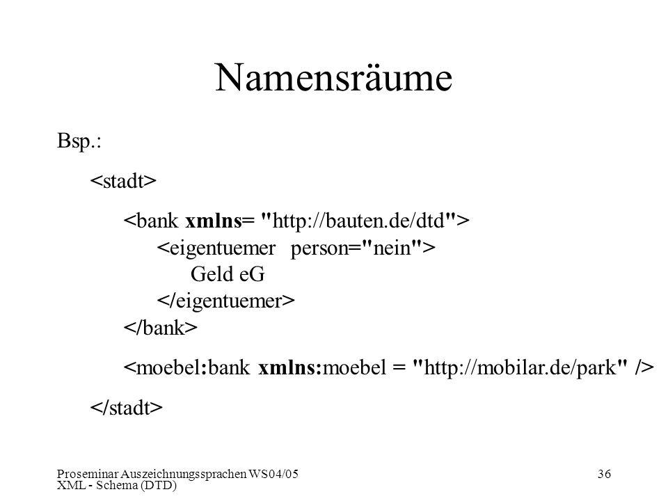 Proseminar Auszeichnungssprachen WS04/05 XML - Schema (DTD) 36 Namensräume Bsp.: Geld eG