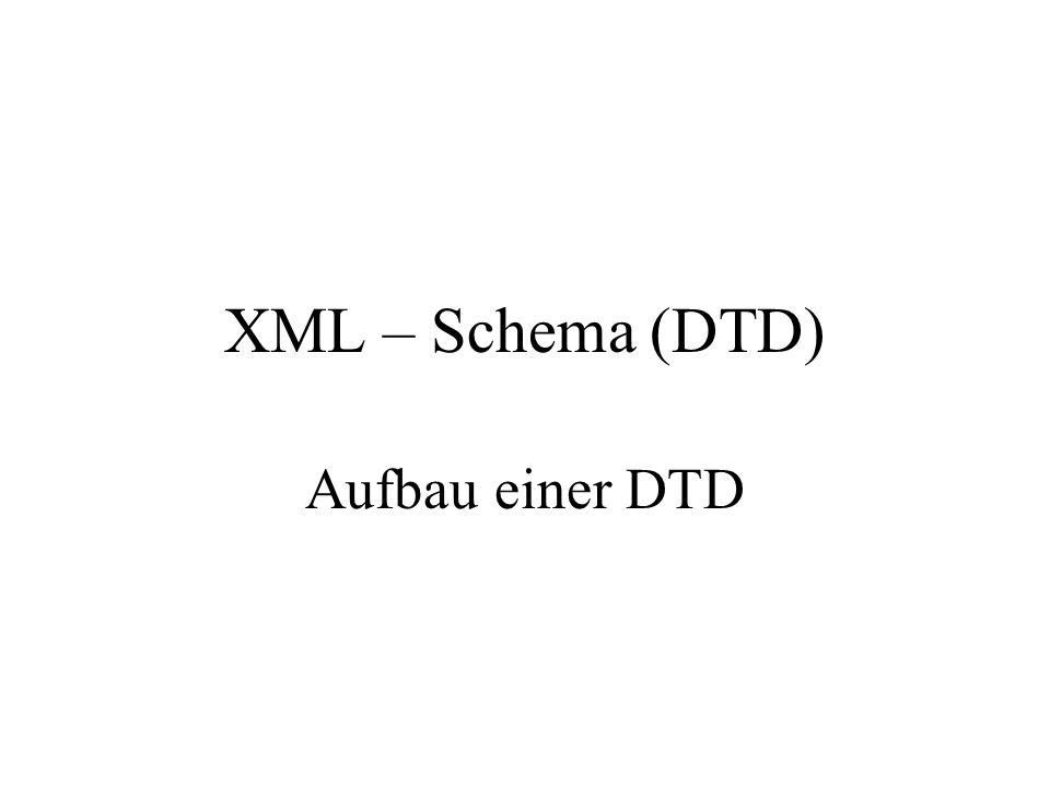 XML – Schema (DTD) Aufbau einer DTD