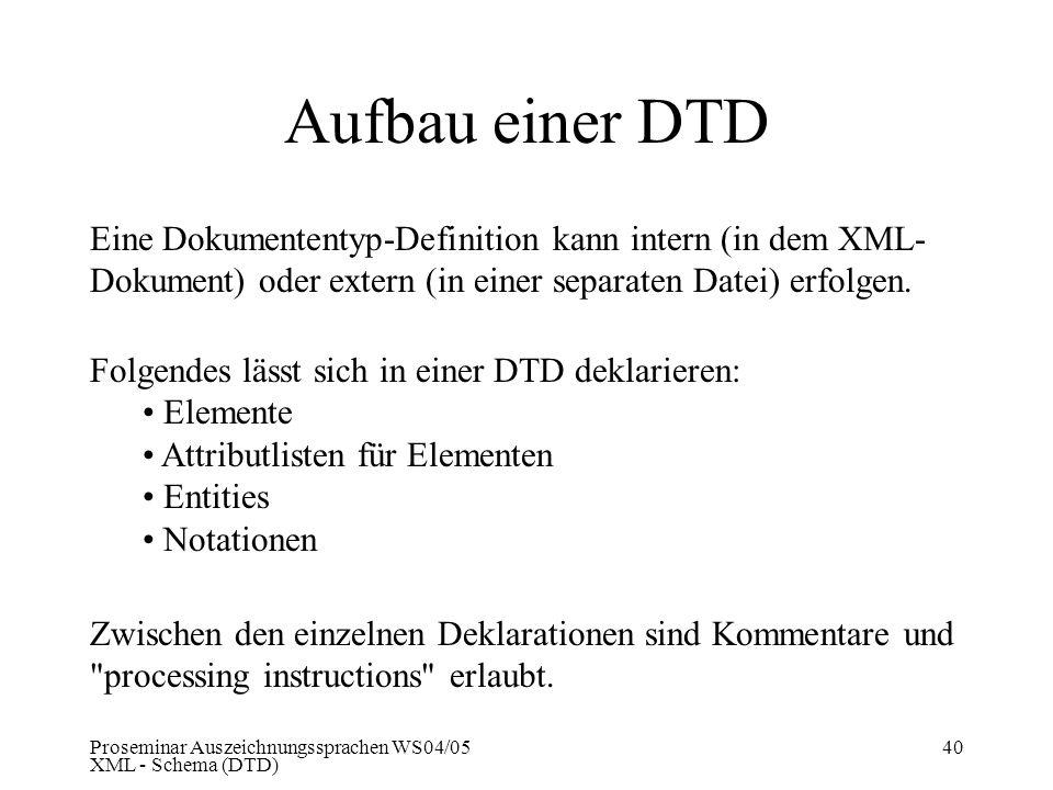 Proseminar Auszeichnungssprachen WS04/05 XML - Schema (DTD) 40 Aufbau einer DTD Folgendes lässt sich in einer DTD deklarieren: Elemente Attributlisten
