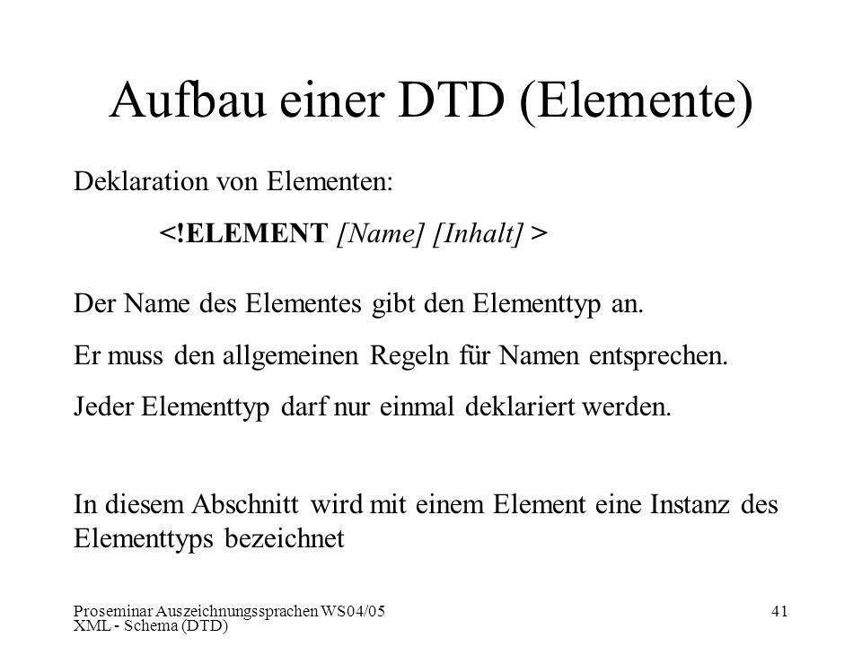 Proseminar Auszeichnungssprachen WS04/05 XML - Schema (DTD) 41 Aufbau einer DTD (Elemente) Deklaration von Elementen: Der Name des Elementes gibt den