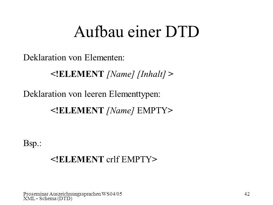 Proseminar Auszeichnungssprachen WS04/05 XML - Schema (DTD) 42 Aufbau einer DTD Deklaration von Elementen: Deklaration von leeren Elementtypen: Bsp.: