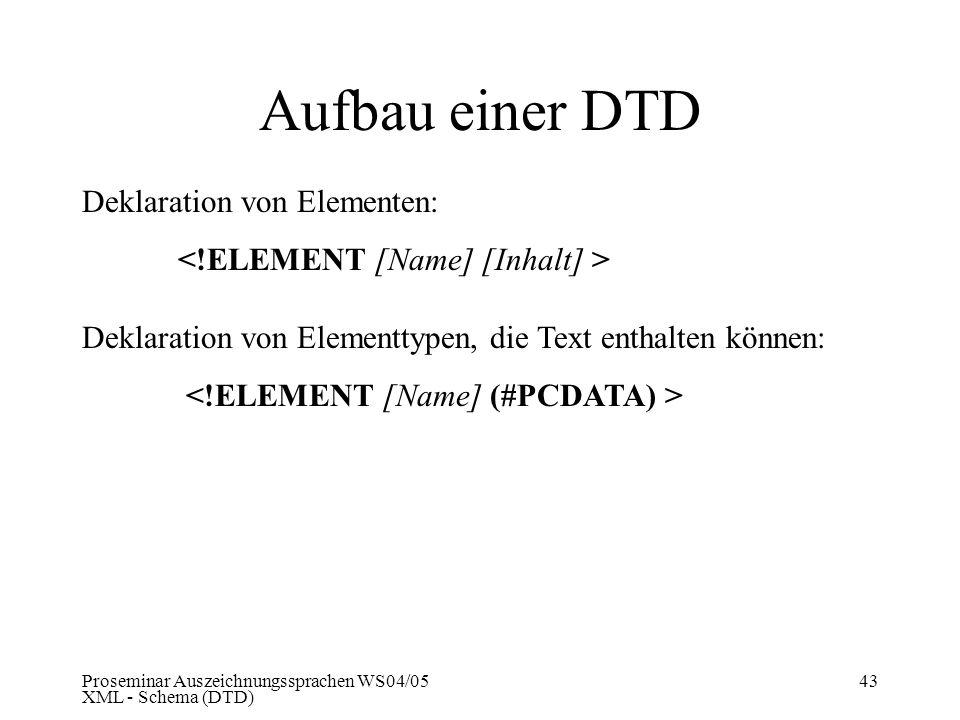 Proseminar Auszeichnungssprachen WS04/05 XML - Schema (DTD) 43 Aufbau einer DTD Deklaration von Elementen: Deklaration von Elementtypen, die Text enth