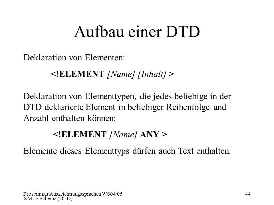 Proseminar Auszeichnungssprachen WS04/05 XML - Schema (DTD) 44 Aufbau einer DTD Deklaration von Elementen: Deklaration von Elementtypen, die jedes bel