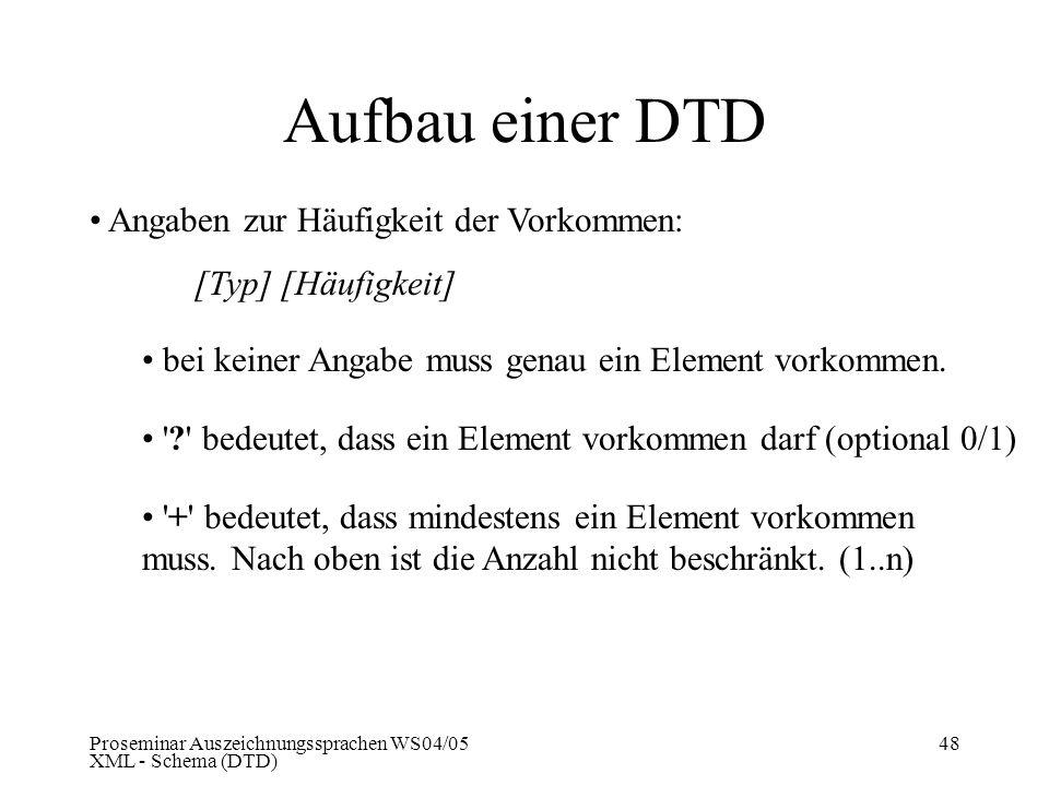 Proseminar Auszeichnungssprachen WS04/05 XML - Schema (DTD) 48 Aufbau einer DTD Angaben zur Häufigkeit der Vorkommen: [Typ] [Häufigkeit] bei keiner An