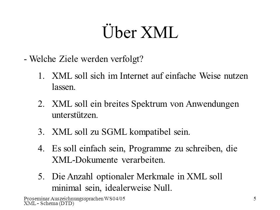 Proseminar Auszeichnungssprachen WS04/05 XML - Schema (DTD) 5 Über XML - Welche Ziele werden verfolgt? 1.XML soll sich im Internet auf einfache Weise