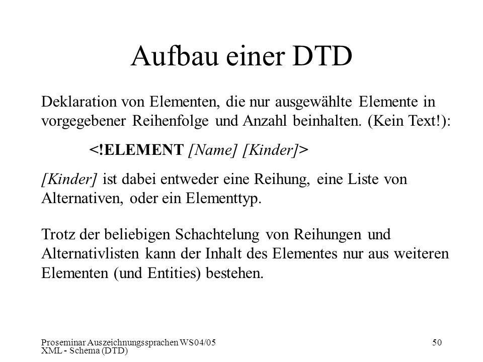 Proseminar Auszeichnungssprachen WS04/05 XML - Schema (DTD) 50 Aufbau einer DTD Deklaration von Elementen, die nur ausgewählte Elemente in vorgegebene