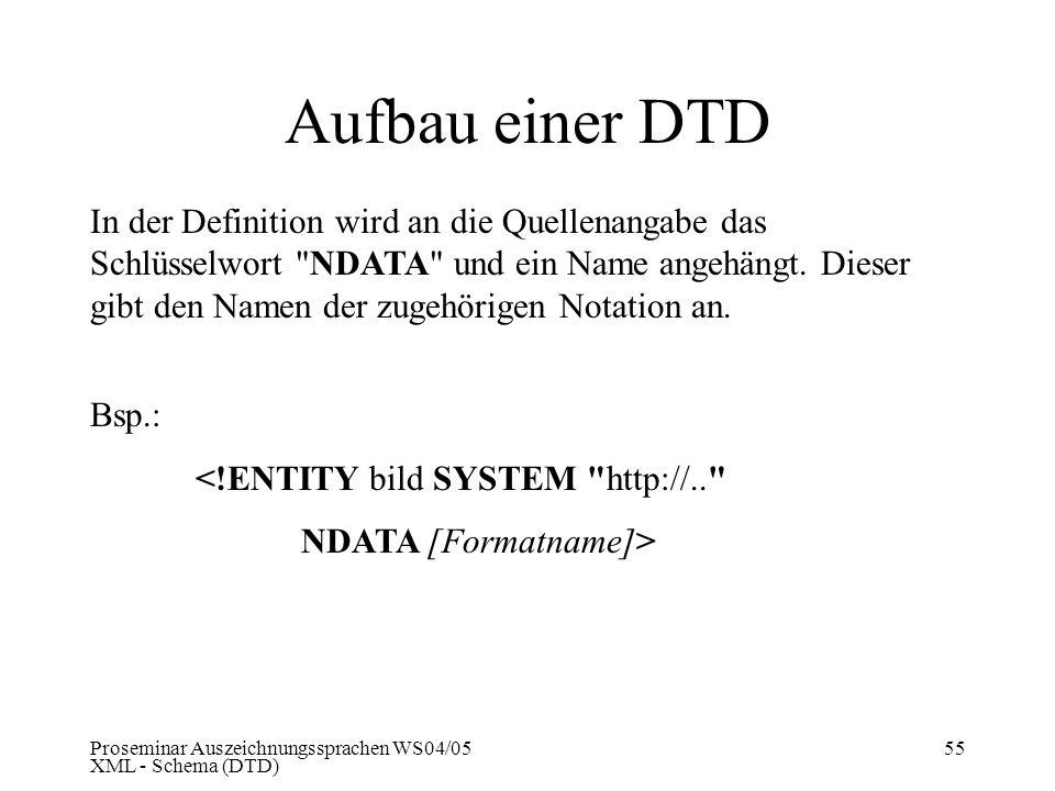 Proseminar Auszeichnungssprachen WS04/05 XML - Schema (DTD) 55 Aufbau einer DTD In der Definition wird an die Quellenangabe das Schlüsselwort
