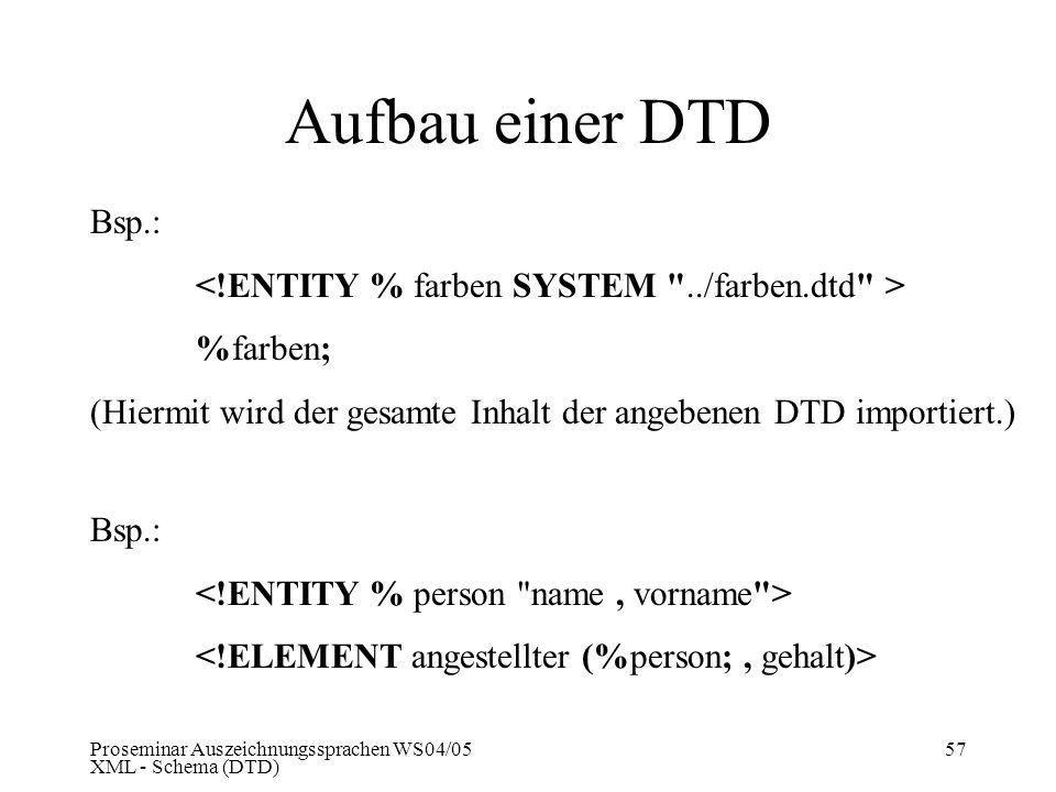 Proseminar Auszeichnungssprachen WS04/05 XML - Schema (DTD) 57 Aufbau einer DTD Bsp.: %farben; (Hiermit wird der gesamte Inhalt der angebenen DTD impo