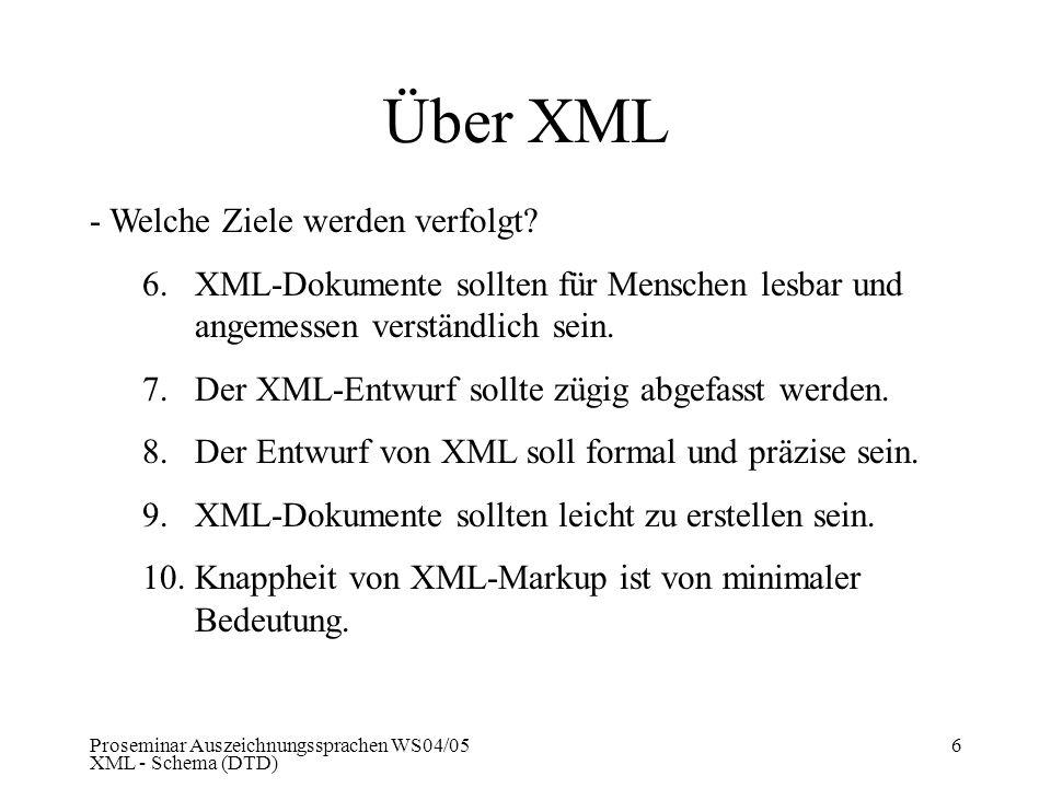Proseminar Auszeichnungssprachen WS04/05 XML - Schema (DTD) 6 Über XML - Welche Ziele werden verfolgt? 6.XML-Dokumente sollten für Menschen lesbar und