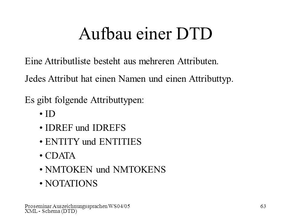 Proseminar Auszeichnungssprachen WS04/05 XML - Schema (DTD) 63 Aufbau einer DTD Eine Attributliste besteht aus mehreren Attributen. Jedes Attribut hat