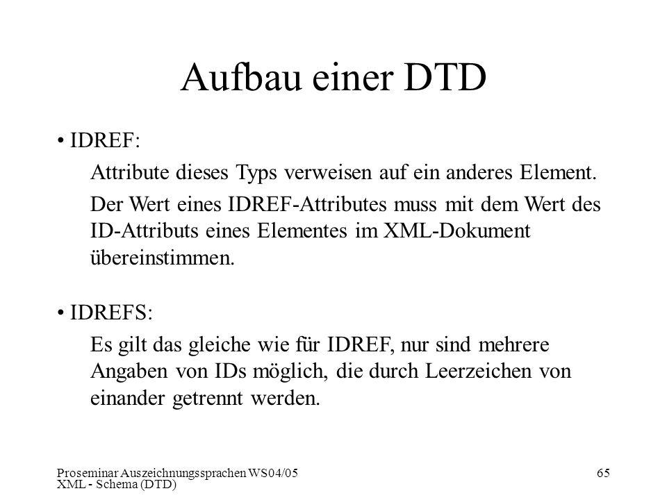 Proseminar Auszeichnungssprachen WS04/05 XML - Schema (DTD) 65 Aufbau einer DTD IDREF: Attribute dieses Typs verweisen auf ein anderes Element. Der We