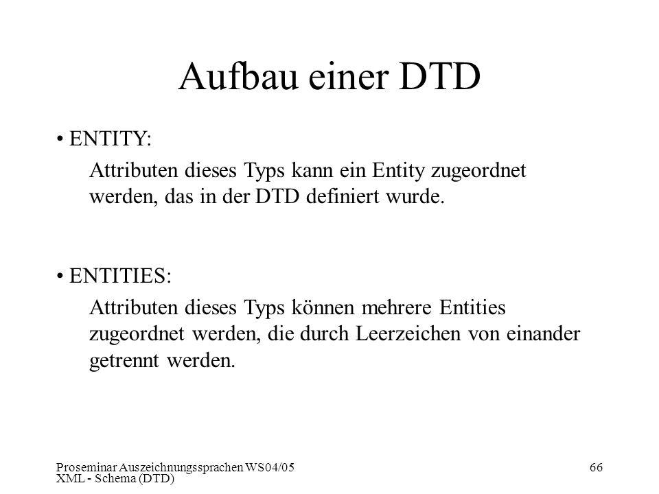 Proseminar Auszeichnungssprachen WS04/05 XML - Schema (DTD) 66 Aufbau einer DTD ENTITY: Attributen dieses Typs kann ein Entity zugeordnet werden, das