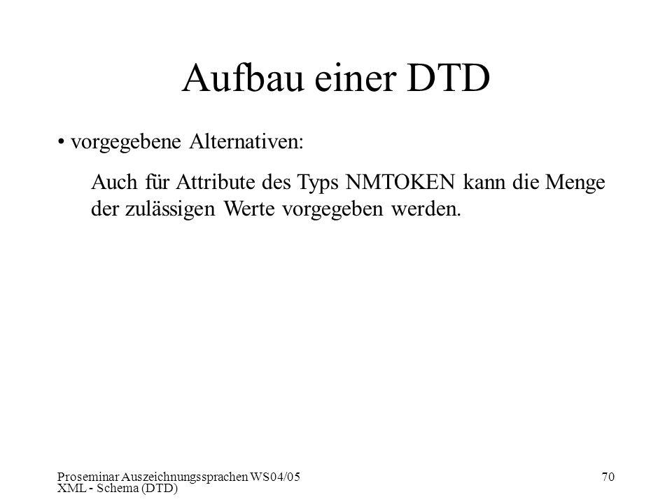 Proseminar Auszeichnungssprachen WS04/05 XML - Schema (DTD) 70 Aufbau einer DTD vorgegebene Alternativen: Auch für Attribute des Typs NMTOKEN kann die