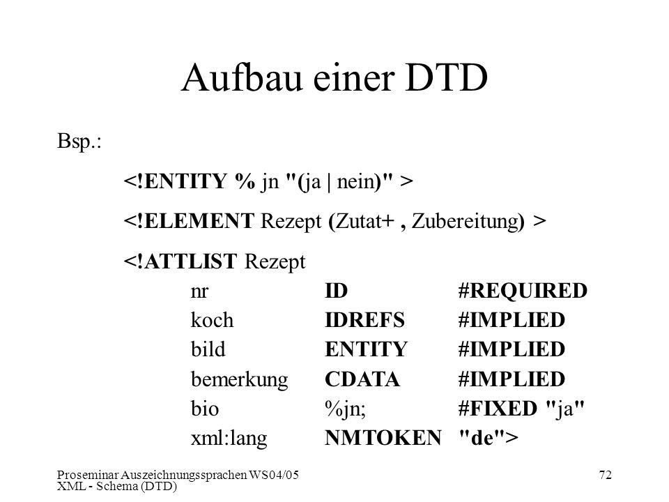 Proseminar Auszeichnungssprachen WS04/05 XML - Schema (DTD) 72 Aufbau einer DTD Bsp.: <!ATTLIST Rezept nrID #REQUIRED koch IDREFS#IMPLIED bildENTITY#I