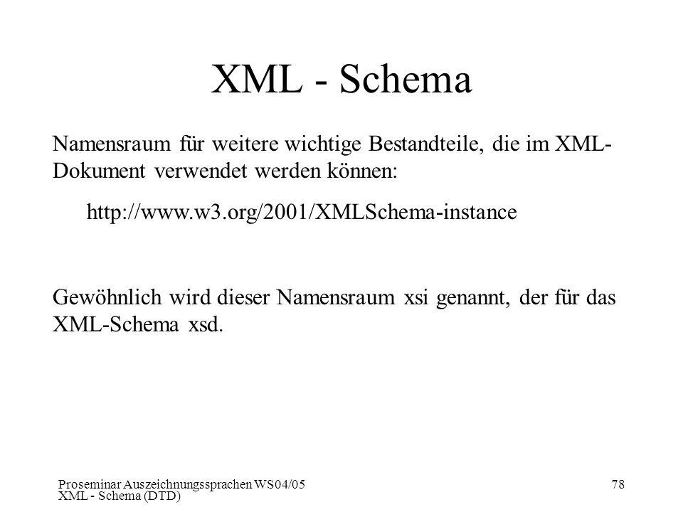Proseminar Auszeichnungssprachen WS04/05 XML - Schema (DTD) 78 XML - Schema Namensraum für weitere wichtige Bestandteile, die im XML- Dokument verwend