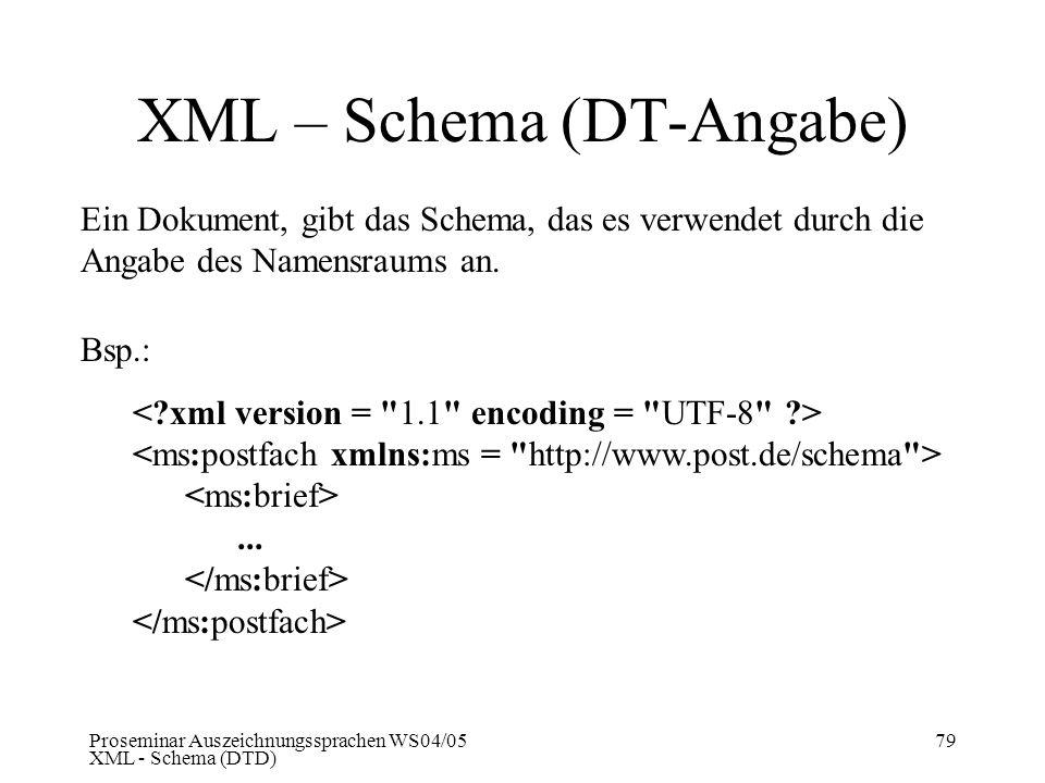 Proseminar Auszeichnungssprachen WS04/05 XML - Schema (DTD) 79 XML – Schema (DT-Angabe) Ein Dokument, gibt das Schema, das es verwendet durch die Anga