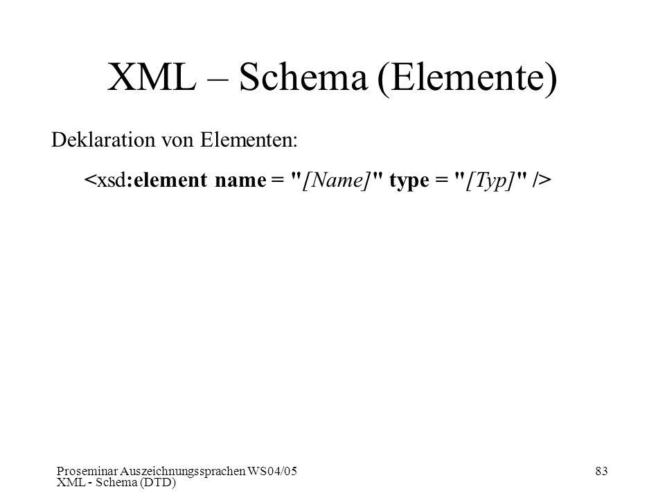 Proseminar Auszeichnungssprachen WS04/05 XML - Schema (DTD) 83 XML – Schema (Elemente) Deklaration von Elementen: