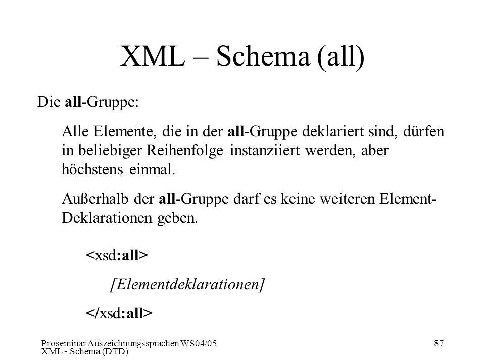Proseminar Auszeichnungssprachen WS04/05 XML - Schema (DTD) 87 XML – Schema (all) Die all-Gruppe: Alle Elemente, die in der all-Gruppe deklariert sind