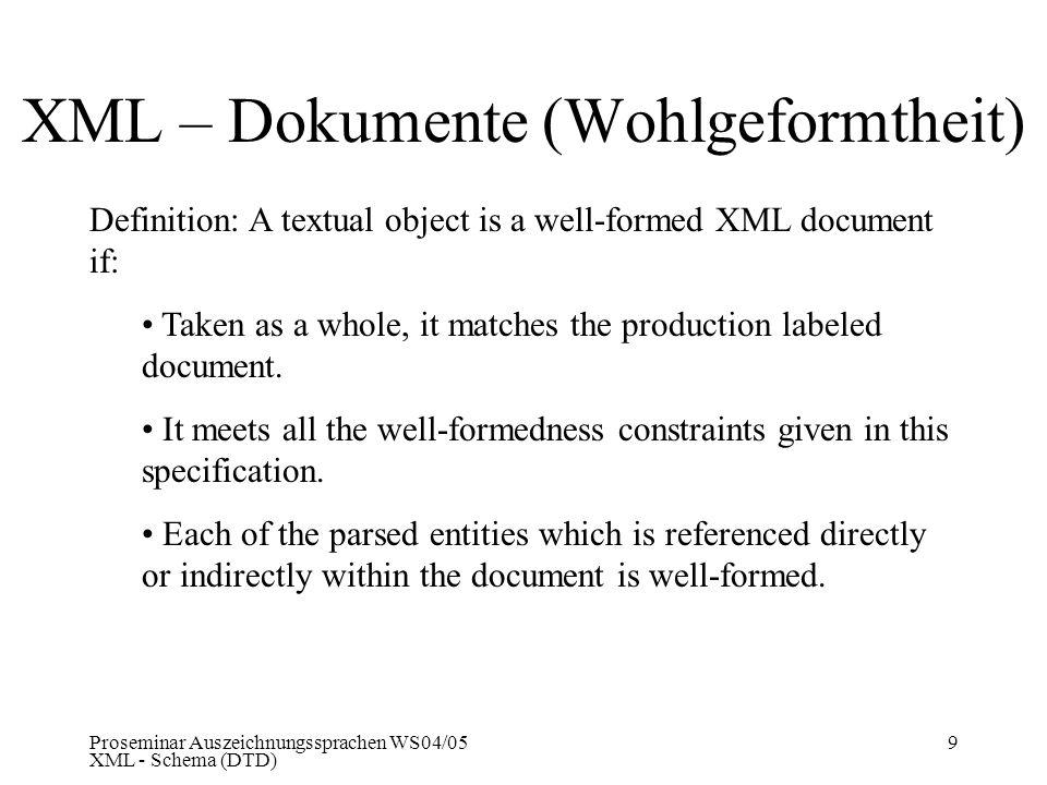 Proseminar Auszeichnungssprachen WS04/05 XML - Schema (DTD) 9 XML – Dokumente (Wohlgeformtheit) Definition: A textual object is a well-formed XML docu