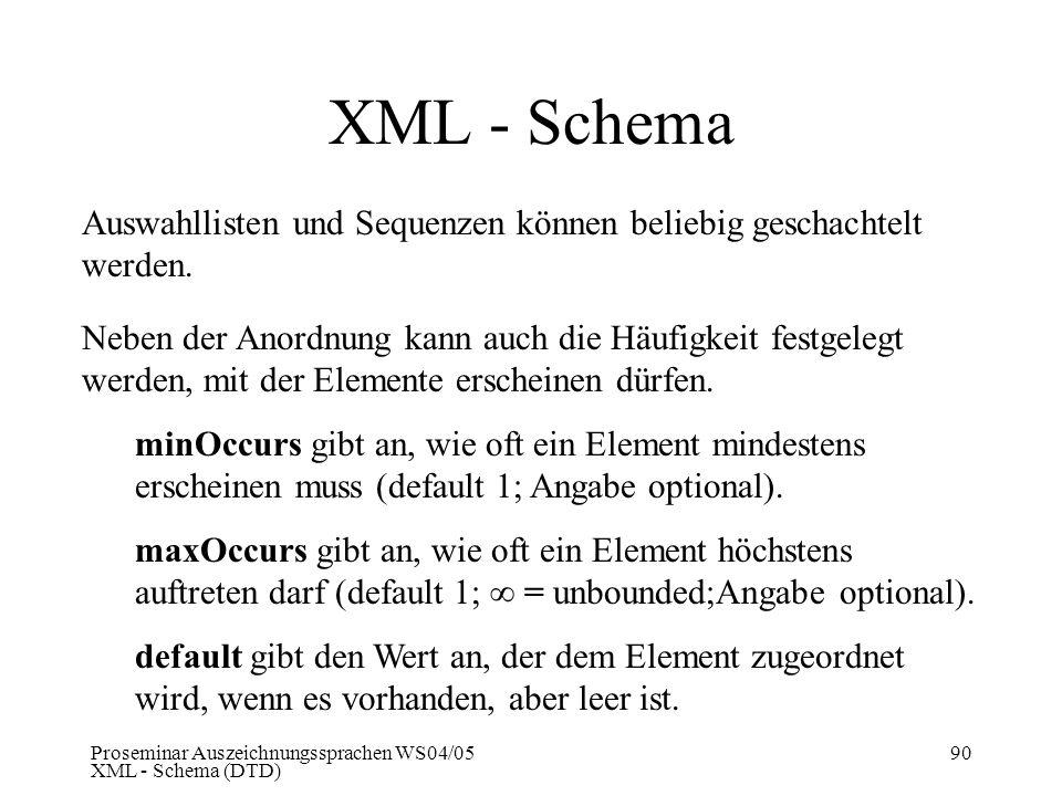 Proseminar Auszeichnungssprachen WS04/05 XML - Schema (DTD) 90 XML - Schema Auswahllisten und Sequenzen können beliebig geschachtelt werden. Neben der