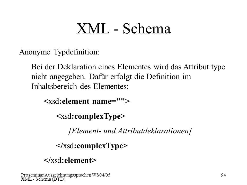 Proseminar Auszeichnungssprachen WS04/05 XML - Schema (DTD) 94 XML - Schema Anonyme Typdefinition: Bei der Deklaration eines Elementes wird das Attrib