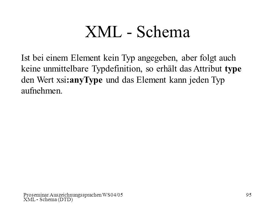 Proseminar Auszeichnungssprachen WS04/05 XML - Schema (DTD) 95 XML - Schema Ist bei einem Element kein Typ angegeben, aber folgt auch keine unmittelba