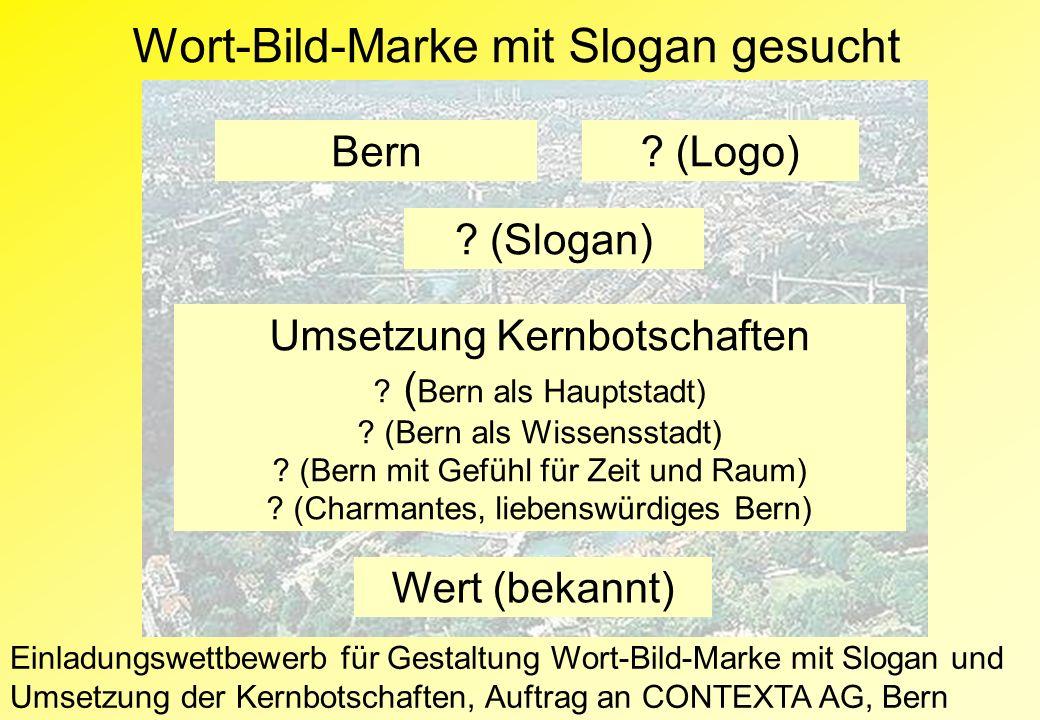 Wort-Bild-Marke mit Slogan gesucht Bern.(Logo) . (Slogan) Umsetzung Kernbotschaften .