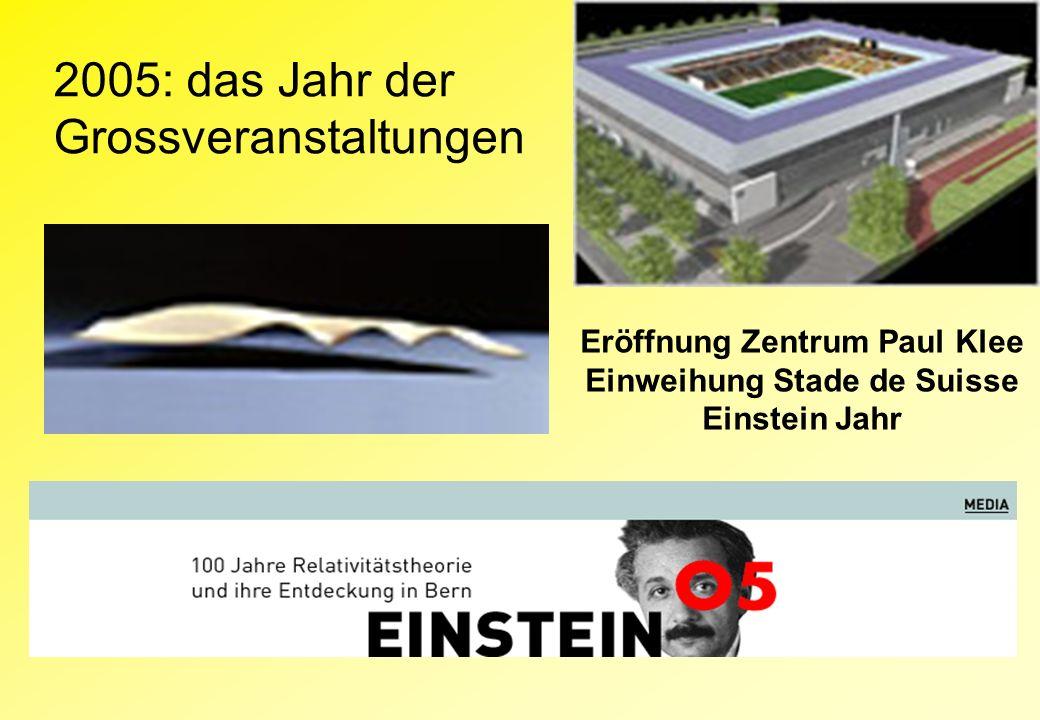 2005: das Jahr der Grossveranstaltungen Eröffnung Zentrum Paul Klee Einweihung Stade de Suisse Einstein Jahr