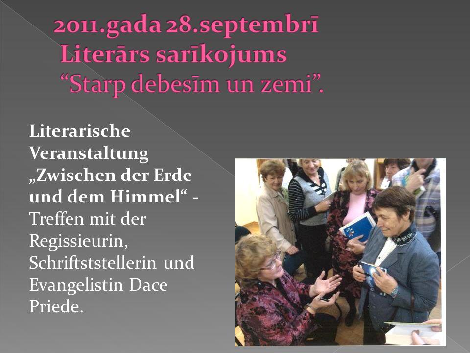Literarische Veranstaltung Zwischen der Erde und dem Himmel - Treffen mit der Regissieurin, Schriftststellerin und Evangelistin Dace Priede.
